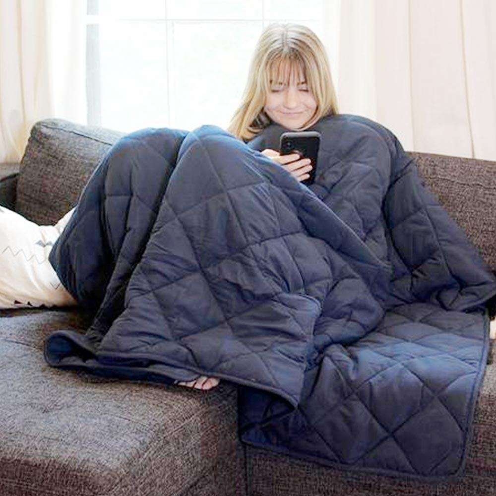 Woman Covered in BlanQuil Weighted Blanket